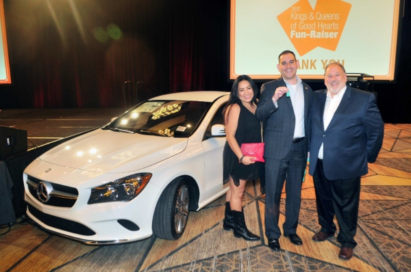 Mercedes car winners with Bob Wills at the 2017 Kings & Queens of Good Hearts Fun-Raiser