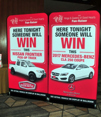 2017 Kings & Queens of Good Hearts Fun-Raiser Car prize signs